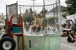 Man falls into large dunk tank during the oakwyn summer party